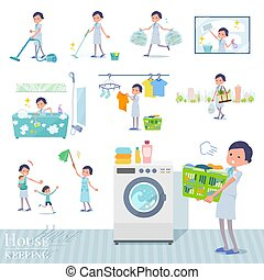 A set of Business women related to housekeeping such as cleaning and laundry. There are various actions such as child rearing. It's vector art so it's easy to edit.