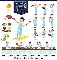 flat type Beauty staff women_cooking - A set of Business...