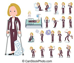 flat type blond hair business women_sickness - A set of...