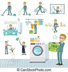 A set of businessman related to housekeeping such as cleaning and laundry. There are various actions such as child rearing. It's vector art so it's easy to edit.