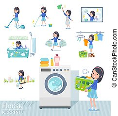 A set of girl related to housekeeping such as cleaning and laundry. There are various actions such as child rearing. It's vector art so it's easy to edit.