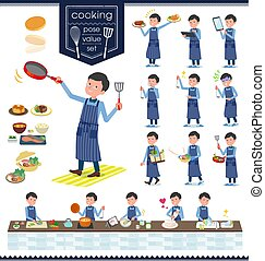 flat type Blue clothing glass dad_cooking - A set of man...