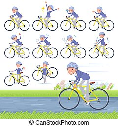 flat type blue one piece old women_road bike - A set of old...