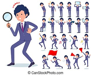 flat type blue suit curly hair men_Action