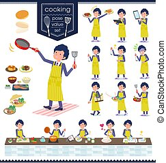 flat type blue suit curly hair men_cooking - A set of...
