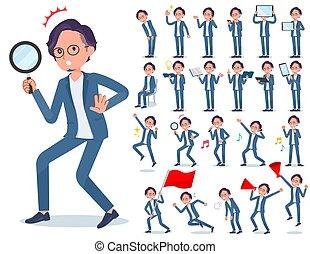 flat type blue suit Glasses man_Action
