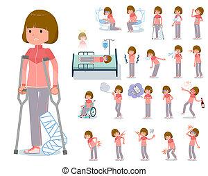 flat type Bob hair women Sportswear_sickness - A set of...