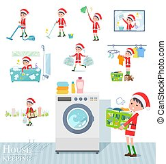 set of Santa Claus costume boy related to housekeeping such as cleaning and laundry. There are various actions such as child rearing. It's vector art so it's easy to edit.