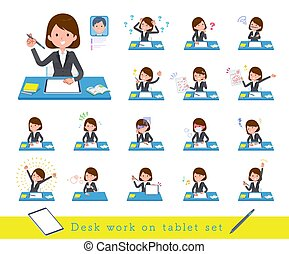 A set of women studying on a tablet device.There are various emotions and actions.It's vector art so it's easy to edit.