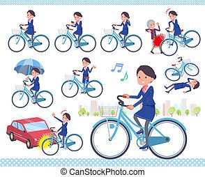 flat type Cabin attendant blue woman city cycle