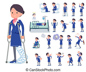 flat type Cabin attendant blue woman_sickness - A set of...