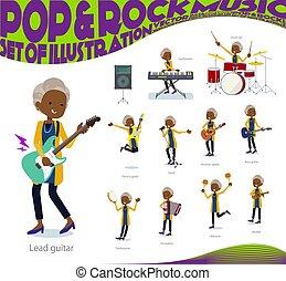 flat type cardigan black old women pop music - A set of old ...
