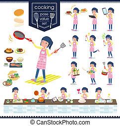 flat type Childminder women_cooking - A set of Childminder...
