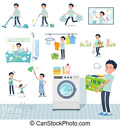 A set of chiropractor man related to housekeeping such as cleaning and laundry. There are various actions such as child rearing. It's vector art so it's easy to edit.