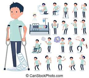 flat type chiropractor men_sickness - A set of chiropractor...