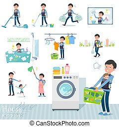A set of man holding a baby related to housekeeping such as cleaning and laundry. There are various actions such as child rearing. It's vector art so it's easy to edit.