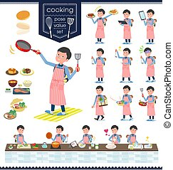 flat type Dad and baby_cooking - A set of man holding a baby...