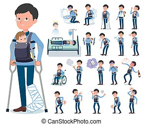 flat type Dad and baby_sickness - A set of man holding a...