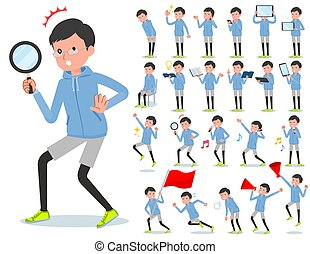 A set of men in sportswear with digital equipment such as smartphones. There are actions that express emotions. It's vector art so it's easy to edit.