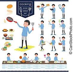 flat type dad Blue sportswear_cooking - A set of men in...