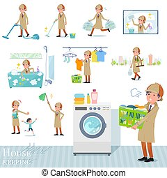 A set of Detective man related to housekeeping such as cleaning and laundry. There are various actions such as child rearing. It's vector art so it's easy to edit.