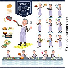 flat type Double suit old men_cooking - A set of old...