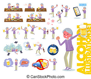 A set of old women in sportswear related to alcohol. There is a lively appearance and action that expresses failure about alcohol. It's vector art so it's easy to edit.