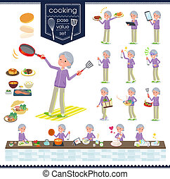 flat type grandma Sportswear_cooking - A set of old women in...