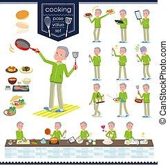 flat type grandpa green Sportswear_cooking - A set of old...