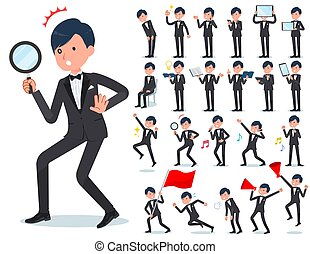 flat type Gray suit businessman