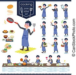 flat type Gray suit businessman Bad condition_cooking - A...