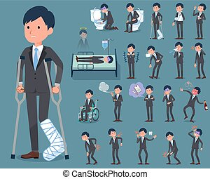 flat type Gray suit businessman sickness