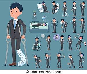 flat type Gray suit businessman sickness