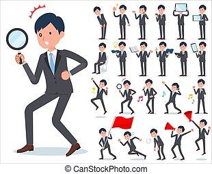 flat type Gray suit businessman_Action