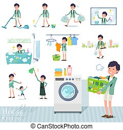 A set of tuxedo man related to housekeeping such as cleaning and laundry. There are various actions such as child rearing. It's vector art so it's easy to edit.