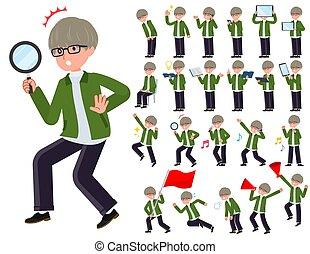 flat type green Coach jacket man_Action