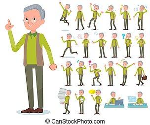 flat type Green vest old man emotion