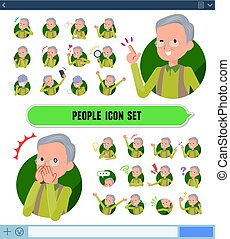 flat type Green vest old man icon