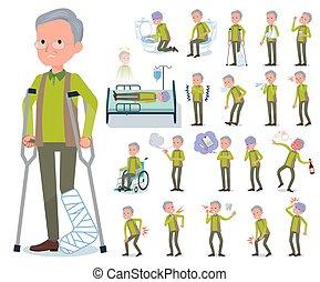 flat type Green vest old man sickness