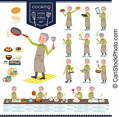 flat type Green vest old man_cooking - A set of old man...