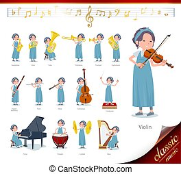 A set of Pregnant Women on classical music performances.There are actions to play various instruments such as string instruments and wind instruments.It's vector art so it's easy to edit.