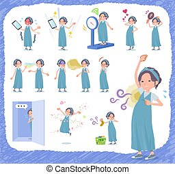 A set of Pregnant Women on inferiority complex.There are actions suffering from smell and appearance.It's vector art so it's easy to edit.