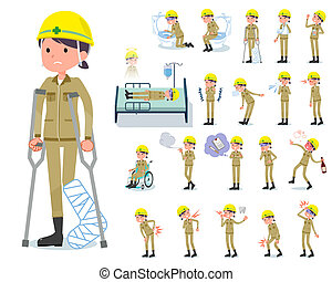 flat type helmet worker women_sickness - A set of working...