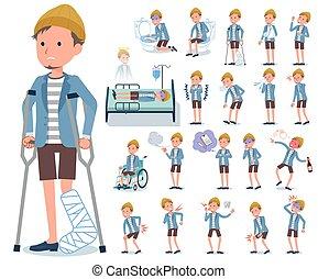 flat type Jacket Short pants men_sickness - A set of young...
