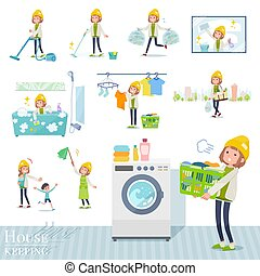 A set of casual fashion women related to housekeeping such as cleaning and laundry. There are various actions such as child rearing. It's vector art so it's easy to edit.