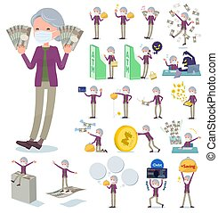 flat type mask Purple clothes old women_money - A set of old...