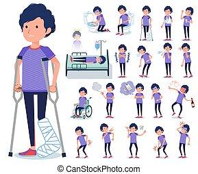flat type men blue sportswear_sickness - A set of man in...
