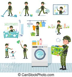 A set of Army Men related to housekeeping such as cleaning and laundry. There are various actions such as child rearing. It's vector art so it's easy to edit.