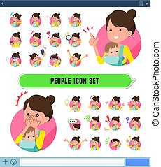 flat type Mother and baby icon