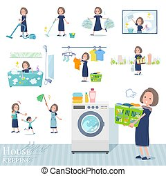 A set of dress fashion women related to housekeeping such as cleaning and laundry. There are various actions such as child rearing. It's vector art so it's easy to edit.
